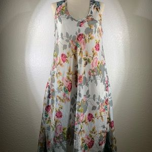 Johnny Was Roses Silk Print Dress size M NWT